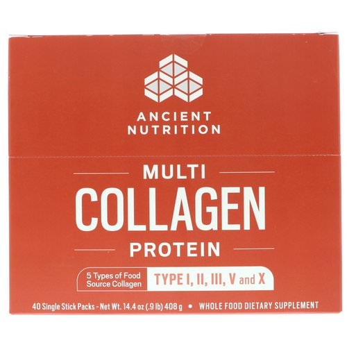 Dr. Axe / Ancient Nutrition, Multi Collagen Protein, 40 Single Stick Packets, 14.4 oz (408 g) Review