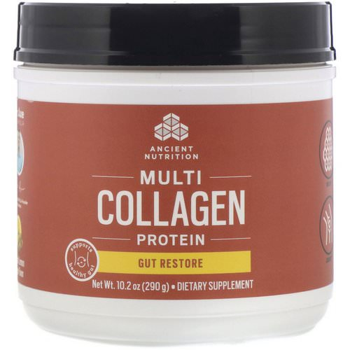 Dr. Axe / Ancient Nutrition, Multi Collagen Protein, Gut Restore, Natural Lemon Ginger, 10.2 oz (290 g) Review