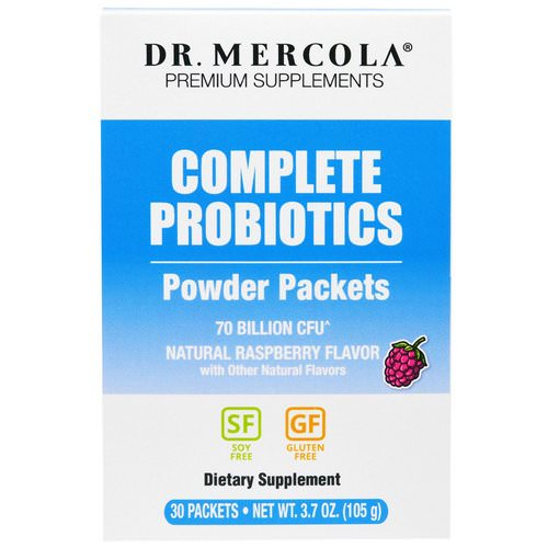 Dr. Mercola, Complete Probiotics Powder Packets, Natural Raspberry Flavor, 30 Packets, 0.12 oz (3.5 g) Each Review