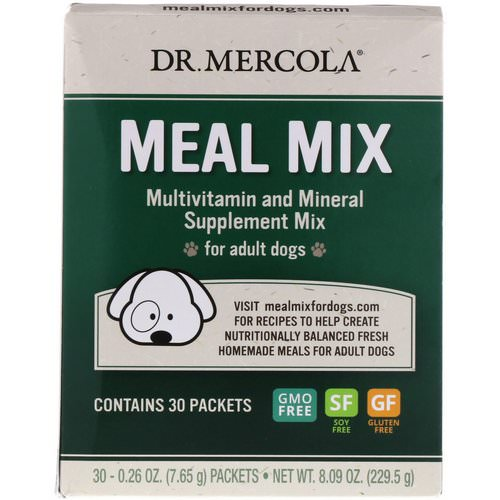 Dr. Mercola, Meal Mix, Multivitamin and Mineral Supplement Mix for Adult Dogs, 30 Packets, 0.26 oz (7.65 g) Each Review
