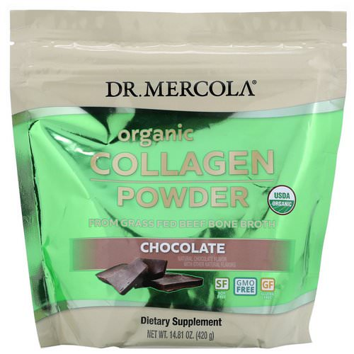 Dr. Mercola, Organic Collagen Powder From Grass Fed Beef Bone Broth, Chocolate, 14.81 oz (420 g) Review