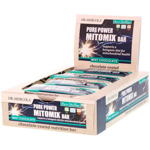 Dr. Mercola, Pure Power Mitomix Bar, Chocolate-Coated Mint Chocolate, 12 Bars, 1.4 oz (40 g) Each Review