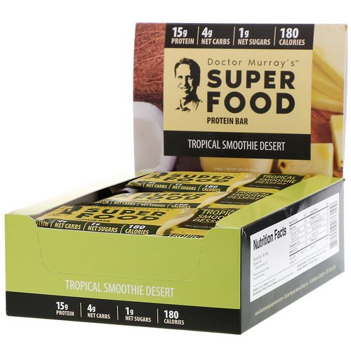 Dr. Murray's, Superfood Protein Bars, Tropical Smoothie Dessert, 12 Bars, 2.05 oz (58 g) Each Review