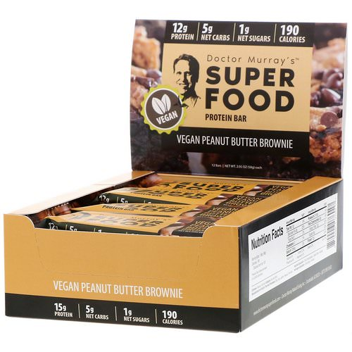 Dr. Murray's, Superfood Protein Bars, Vegan Peanut Butter Brownie, 12 Bars, 2.05 oz (58 g) Each Review