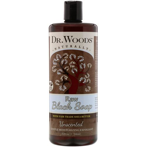 Dr. Woods, Raw Black Soap with Fair Trade Shea Butter, Unscented, 32 fl oz (946 ml) Review