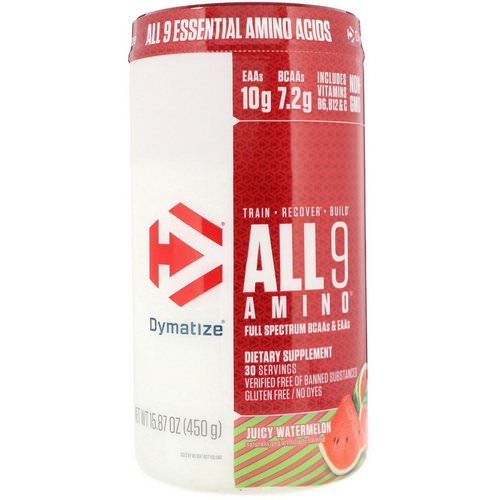 Dymatize Nutrition, All 9 Amino, Juicy Watermelon, 15.87 oz (450 g) Review