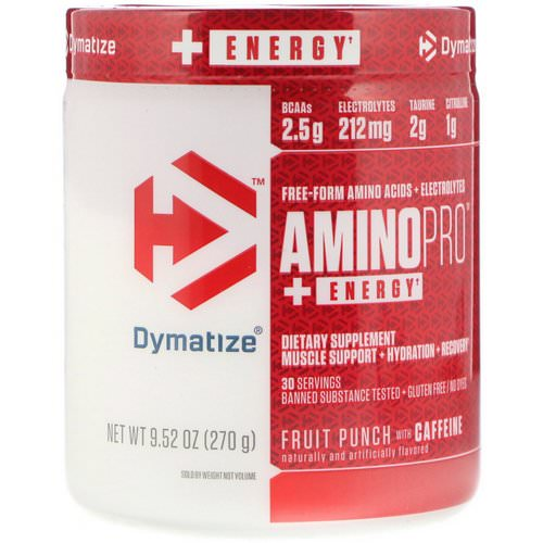 Dymatize Nutrition, AminoPro with Energy, Fruit Punch with Caffeine, 9.52 oz (270 g) Review