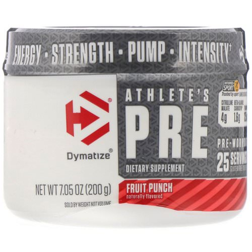 Dymatize Nutrition, Athlete's Pre, Pre-Workout, Fruit Punch, 7.05 oz (200 g) Review