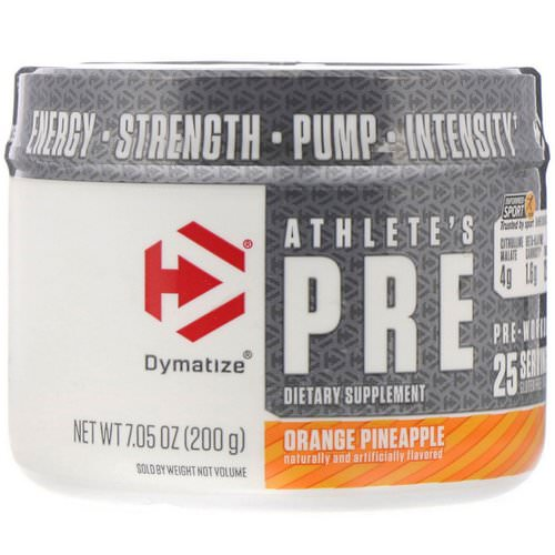 Dymatize Nutrition, Athlete's Pre, Pre-Workout, Orange Pineapple, 7.05 oz (200 g) Review
