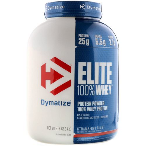 Dymatize Nutrition, Elite 100% Whey Protein Powder, Strawberry Blast, 5 lbs (2.3 kg) Review