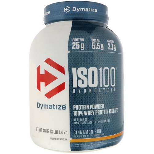 Dymatize Nutrition, ISO 100 Hydrolyzed, 100% Whey Protein Isolate, Cinnamon Bun, 3 lbs (1.4 kg) Review