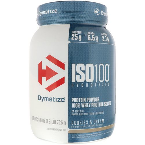 Dymatize Nutrition, ISO 100 Hydrolyzed, 100% Whey Protein Isolate, Cookies & Cream, 1.6 lbs (725 g) Review