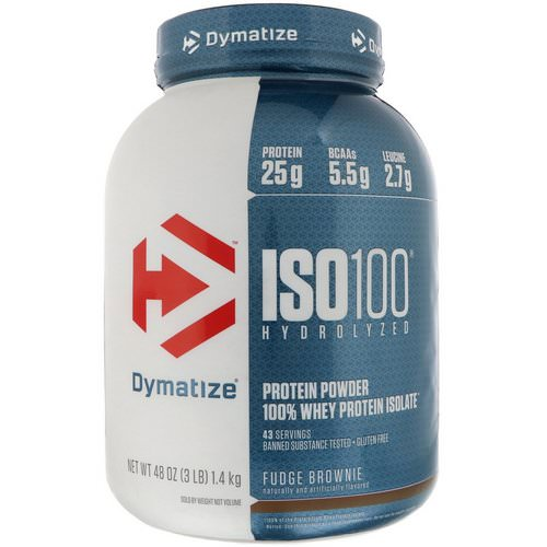Dymatize Nutrition, ISO 100 Hydrolyzed, 100% Whey Protein Isolate, Fudge Brownie, 3 lbs (1.4 kg) Review