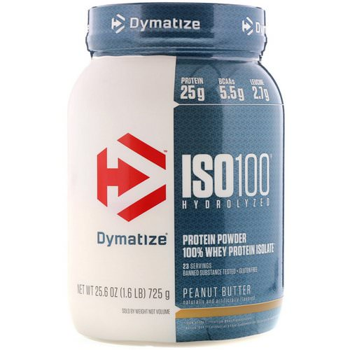 Dymatize Nutrition, ISO 100 Hydrolyzed, 100% Whey Protein Isolate, Peanut Butter, 1.6 lbs (725 g) Review
