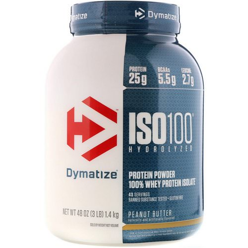 Dymatize Nutrition, ISO 100 Hydrolyzed, 100% Whey Protein Isolate, Peanut Butter, 3 lbs (1.4 kg) Review