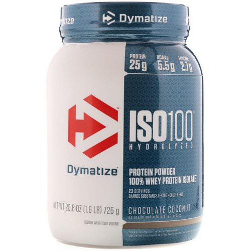 Dymatize Nutrition, ISO 100, Hydrolyzed, 100% Whey Protein Isolate Powder, Chocolate Coconut, 1.6 lbs (725 g) Review