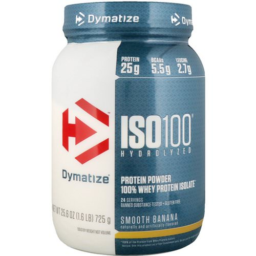 Dymatize Nutrition, ISO100 Hydrolyzed, 100% Whey Protein Isolate, Smooth Banana, 1.6 lbs (725 g) Review