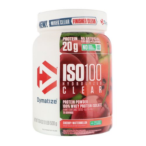 Dymatize Nutrition, ISO100 Hydrolyzed Clear, 100% Whey Protein Isolate, Cherry Watermelon, 1.1 lb (500 g) Review