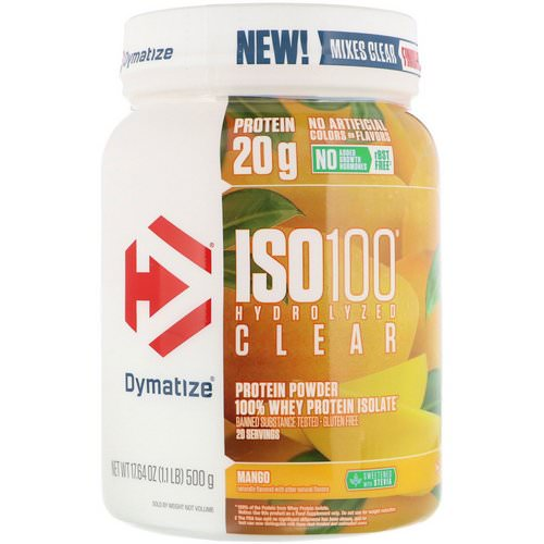 Dymatize Nutrition, ISO100 Hydrolyzed Clear, 100% Whey Protein Isolate, Mango, 1.1 lb (500 g) Review