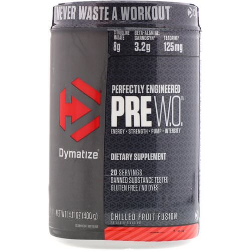 Dymatize Nutrition, Pre W.O, Chilled Fruit Fusion, 14.11 oz (400 g) Review