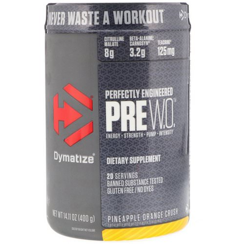 Dymatize Nutrition, Pre-W.O, Pineapple Orange Crush, 14.11 oz (400 g) Review