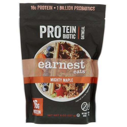 Earnest Eats, Protein Probiotic Oatmeal, Mighty Maple, 8 oz (227 g) Review