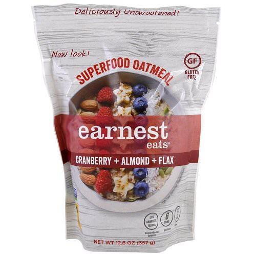 Earnest Eats, Superfood Oatmeal, Cranberry + Almond + Flax, 12.6 oz (357 g) Review