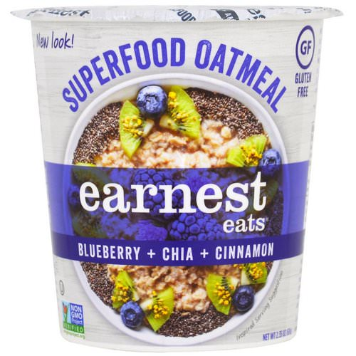 Earnest Eats, SuperFood Oatmeal Cup, Blueberry + Chia + Cinnamon, Superfood Blueberry Chia, 2.35 oz (67 g) Review