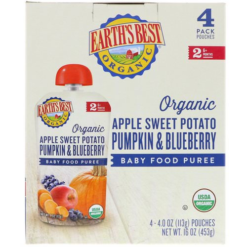 Earth's Best, Organic Apple Sweet Potato, Pumpkin & Blueberry, Baby Food Puree, 6+ Months, 4 Pouches, 4.0 oz (113 g) Each Review