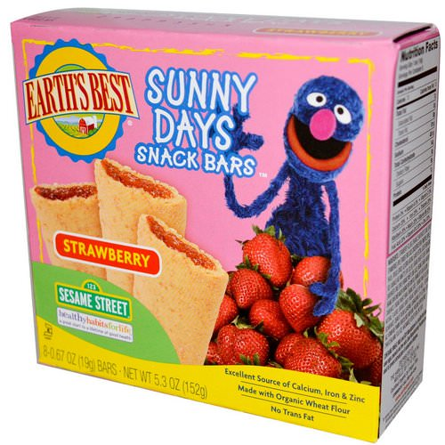 Earth's Best, Organic Sunny Days Snack Bars, Strawberry, 8 Bars, 0.67 oz (19 g) Each Review