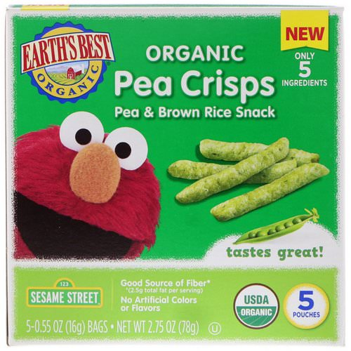 Earth's Best, Sesame Street, Organic Pea Crisps, Pea & Brown Rice Snack, 5 Pouches, 0.55 oz (16 g) Each Review
