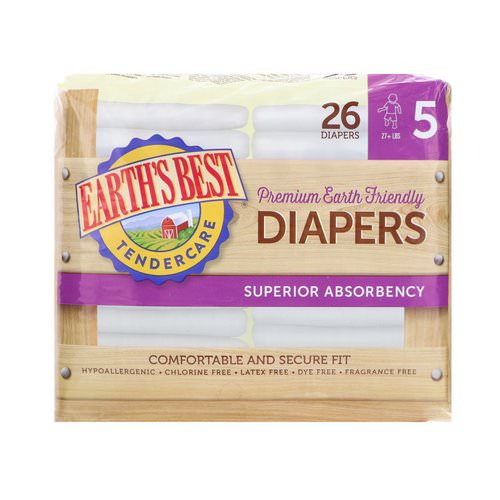 Earth's Best, TenderCare, Premium Earth Friendly, Diapers, Size 5, 27+ lbs, 26 Diapers Review