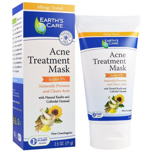 Earth's Care, Acne Treatment Mask, Sulfur 5%, 2.5 oz (71 g) Review
