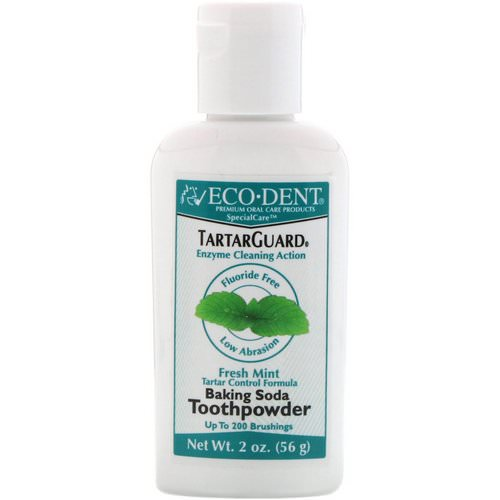 Eco-Dent, TartarGuard, Baking Soda Toothpowder, Fresh Mint, Fluoride Free, 2 oz (56 g) Review