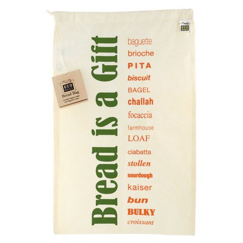 ECOBAGS, Certified Organic Cotton, Printed Reusable Bread Bag, 1 Bag, 11.5
