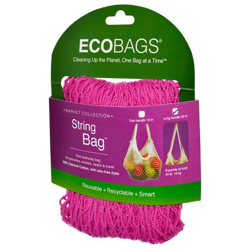 ECOBAGS, Market Collection, String Bag, Long Handle 22 in, Fuchsia, 1 Bag Review