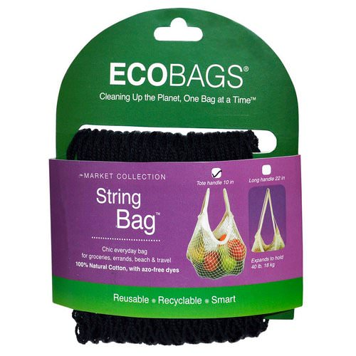 ECOBAGS, Market Collection, String Bag, Tote Handle 10 in, Black, 1 Bag Review