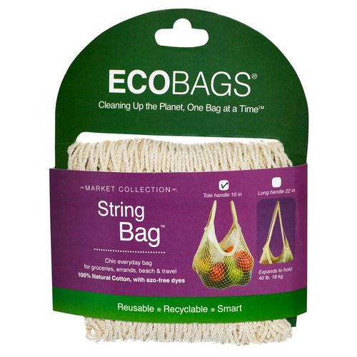 ECOBAGS, Market Collection, String Bag, Tote Handle 10 in, Natural, 1 Bag Review