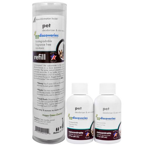 EcoDiscoveries, Pet Deodorizer & Stain Remover, Double Refill Pack, 2 fl oz (60 ml) Each Review