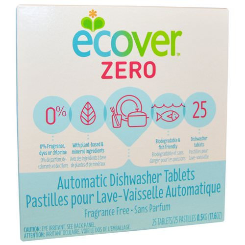 Ecover, Zero, Automatic Dishwasher Tablets, Fragrance Free, 25 Tablets, 17.6 oz (0.5 kg) Review