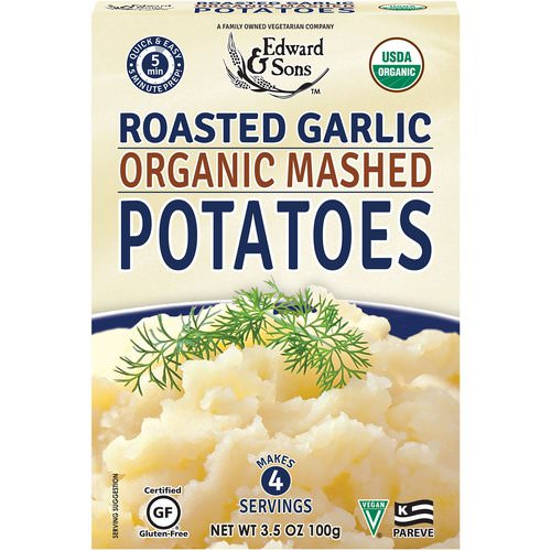 Edward & Sons, Organic Mashed Potatoes, Roasted Garlic, 3.5 oz (100 g) Review