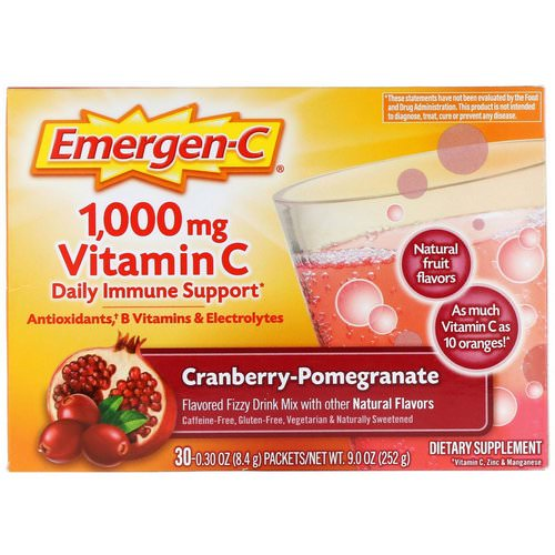 Emergen-C, Vitamin C, Cranberry-Pomegranate, 1,000 mg, 30 Packets, 0.30 oz (8.4 g) Each Review
