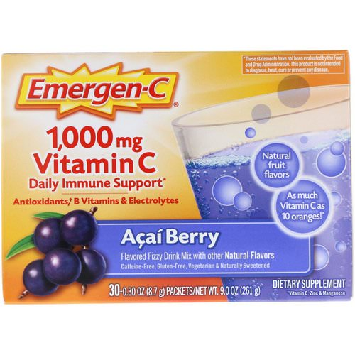 Emergen-C, Vitamin C, Acai Berry, 1,000 mg, 30 Packets, 0.30 oz (8.7 g) Each Review