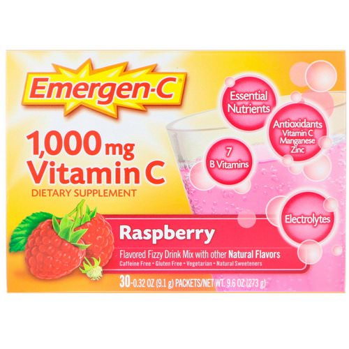Emergen-C, Vitamin C, Flavored Fizzy Drink Mix, Raspberry, 1,000 mg, 30 Packets, 0.32 oz (9.1 g) Each Review