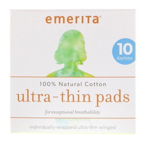 Emerita, 100% Natural Cotton Ultra-Thin Pads, Daytime, 10 Pads Review