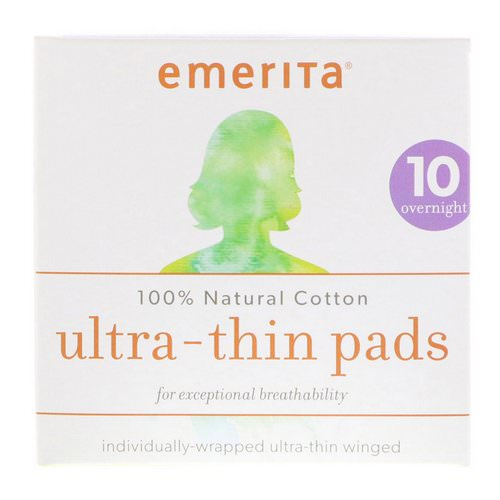 Emerita, 100% Natural Cotton Ultra-Thin Pads, Overnight, 10 Pads Review
