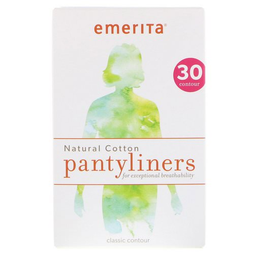 Emerita, Natural Cotton Pantyliners, Classic Contour, 30 Pantyliners Review