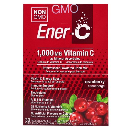 Ener-C, Vitamin C, Effervescent Powdered Drink Mix, Cranberry, 30 Packets, 10.0 oz (282.3 g) Review