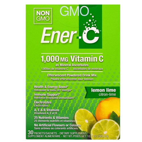 Ener-C, Vitamin C, Effervescent Powdered Drink Mix, Lemon Lime, 30 Packets, 10.1 oz. (285.6 g) Review