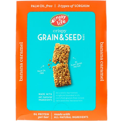 Enjoy Life Foods, Crispy Grain & Seed Bars, Banana Caramel, 12 Bars, 1.76 oz (50 g) Each Review